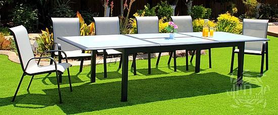 מעולה שולחן אוכל נפתח מאלומיניום וכסאות סלינג עגול 210-310 | ג.חיון WF-27